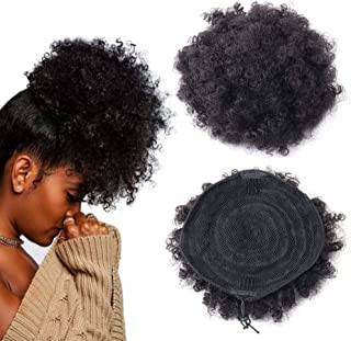 Human Hair Afro Puff Ponytail Drawstring Afro Kinky Curly Ponytail Hair Extension African American HairPieces with Clips (Black)