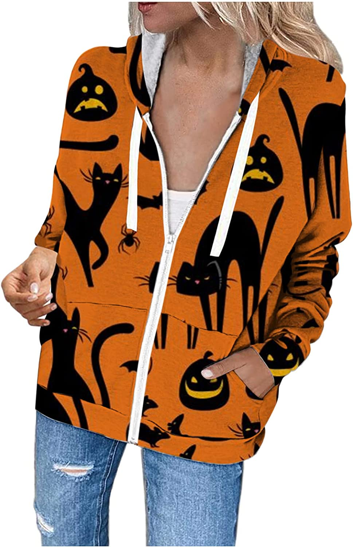 USYFAKGH Women's Halloween Print Long-sleeved Sweatshirt Casual Hoodie long cardigan