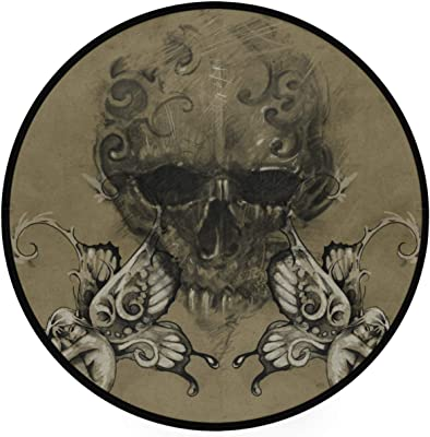 Naanle Butterfly Fairy Skull Anti Fatigue Round Area Rug Non Slip Absorbent Comfort Round Rug Floor Carpet Yoga Mat for Entryway Living Room Bedroom Sofa Home Decor (3' in Diameter)