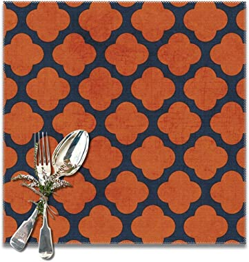 Navy and Orange Clover Placemats for Dining Table Set of 6,Non-Slip Heat Resistant Kitchen Table Mats for Holiday Wedding Par