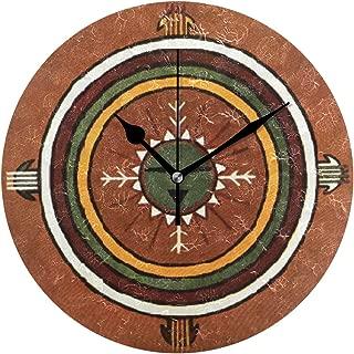 時計 壁掛け 壁掛け時計 掛け時計 モダン 壁時計 掛時計 デザイン時計 無音時計 連続秒針 静音 オシャレ ネイティブアメリカン