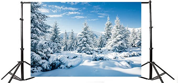 Bokeh Hazy Desolated Snowfield Scenic Backdrop Polyester 10x6.5ft Winter Snowscape Bokeh Blue Haloes Background Child Kids Baby Adult Portrait Shoot New Year Party Banner Greeting Card Landscape