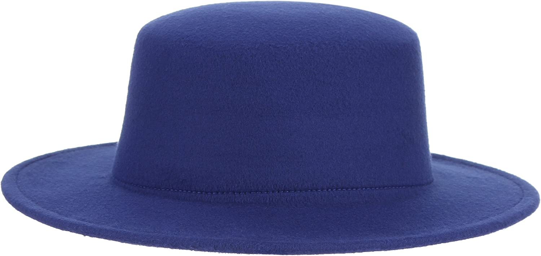 Jelord Womens Wide Brim Wool Boater Hat Flat Top Hat Wool Felt Trilby Panama Church Derby Hat