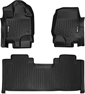 SMARTLINER Custom Fit Floor Mats 2 Row Liner Set Black for 2015-2019 Ford F-150 SuperCab with 1st Row Bucket Seats