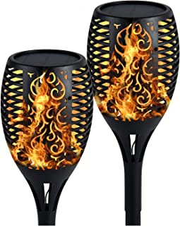 OKEA Auchly Solar Lights Upgraded Waterproof Flickering Dancing Flames Torch Lights Solar Spotlights Landscape Lighting Dusk to Dawn Security Lights for Patio Pathway Garden Driveway, 2 Pack