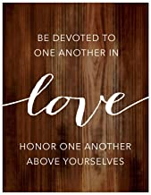 Andaz Press Christian Bible Verses 8.5x11-inch Wood Poster, Be Devoted to one Another in Love. Honor one Another Above Yourselves. Romans 12:9-10, 1-Pack, Religious Christmas Gift for Him Her