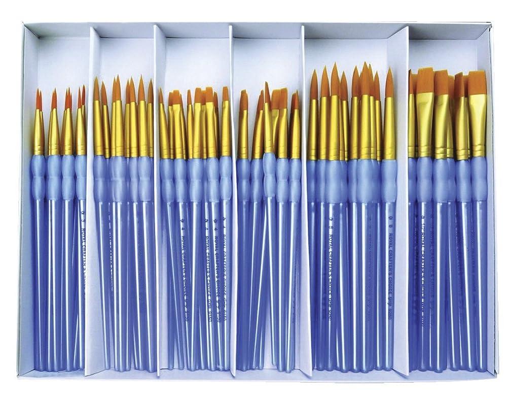 Royal Brush Scholastic Choice Polymer Handle Gold Taklon Combo Set, Set of 72