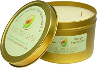 Three Spirit Goods 14 oz Gold Orange/Peppermint Candle - Clean Burning Soy Wax, Pure Essential Oils Scented, Organic Hemp Wick, Reusable Tins, Hand Poured in Austin TX, Pet & Kid Friendly