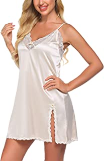 Ekouaer Empire Waist Nightgown Cotton Nightie Sexy Sleepwear for Women