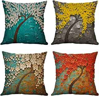 ETZON Oil Painting Style,Colorful Flower Tree 45cm x 45cm Sofa Cushion Cover, Personalized Custom Throw Pillow Case, Cotton Linen Pillow Cover,Bedding Pillow Case Home Living Room Nursery Decor