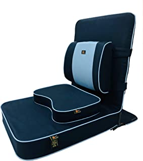 Friends of Meditation Extra Large Relaxing Buddha Meditation and Yoga Chair with backsupport and Meditation Block (Navy Bl...