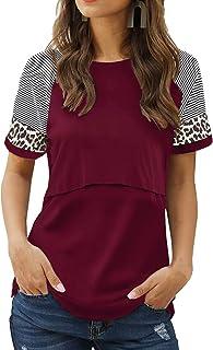Smallshow Women's Nursing Shirts Short Patchwork Sleeve Breastfeeding Top