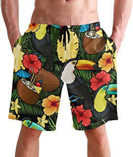 FFY Go Beach Shorts, Tropical Pattern Printed Mens Trunks Swim Short Quick Dry with Pockets for Summer Surfing Boardshorts...