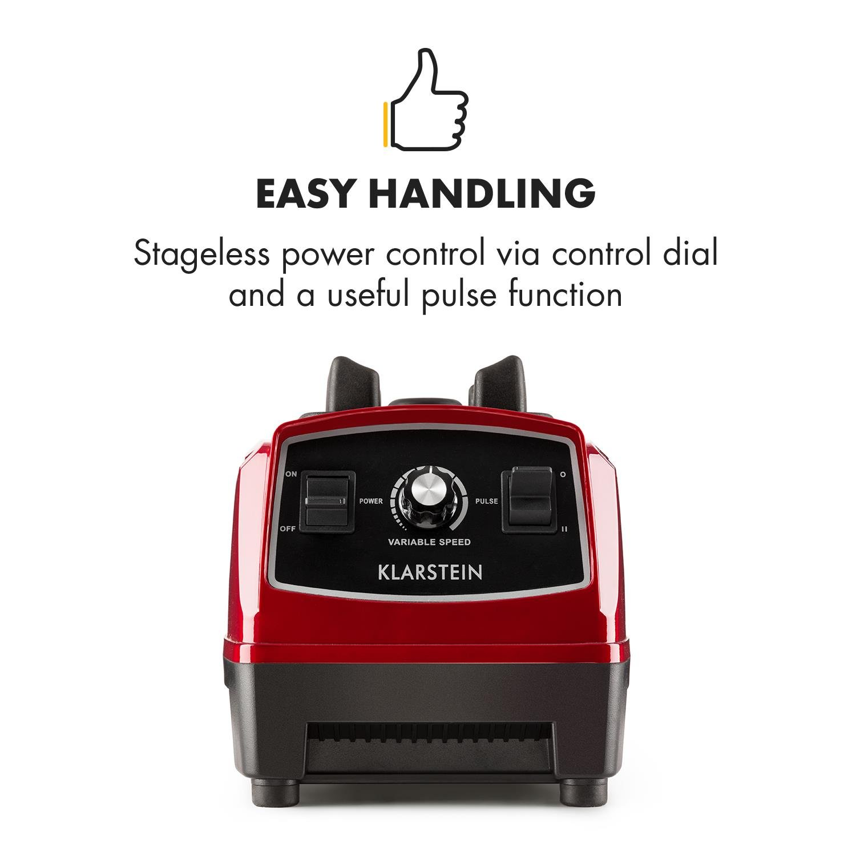Klarstein Herakles 2G R Mixeur sur pied pour smoothie, Blender, 1200W, sans BPA, rouge