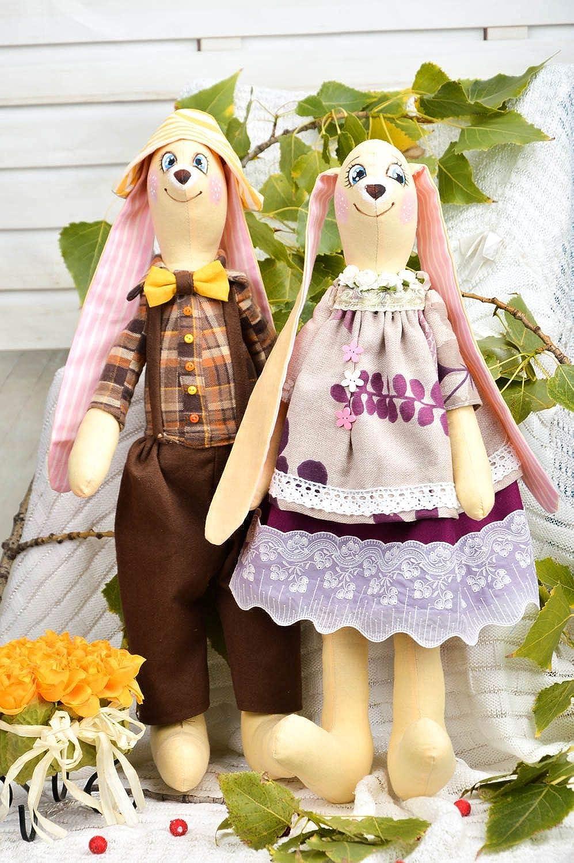 Handmade Beautiful Soft Toys 2 Stylish Cute Rabbits Unusual Textile Toys