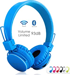 Kids Bluetooth Headphones Foldable Volume Limiting Wireless/Wired Stereo On Ear HD Headset with SD Card FM Radio in-line Volume Control Microphone for Children Adults (Blue)