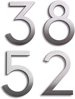 Modern House Numbers Aluminum Modern Font Set of Four 8 inch Numbers