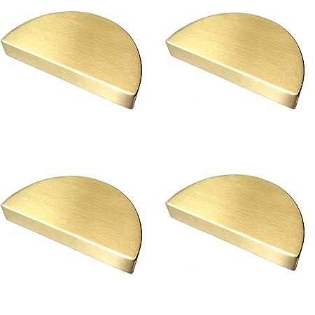 """2 1/2"""" C-C Half Circle Moon Drawer Pull Handles Dresser Pulls Cabinet Handle Brushed Gold Matte Black 2.5"""" 64 mm Centers, 4 Pack (Brushed Gold)"""