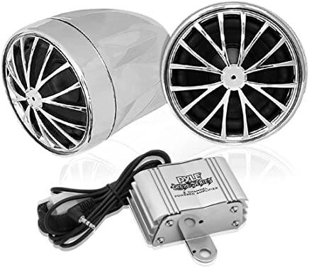 Pyle PLMCA30 Motorcycle Mount Amplified 200-Watt Stereo Sound System with Dual Handlebar Mount Speakers