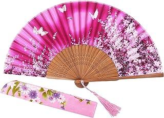 STHUAHE 21 cm Sakura Mariposa Danza Juntos Pintado a Mano Mujer Seda Plegable Ventiladores con una Funda de Tela para protección, Estilo Retro Chino/japonés para Regalo Boda Dance Paty, Rosa (b)