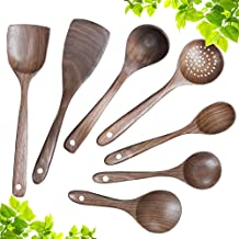Wooden Kitchen Cooking Utensil Set,Wooden Soup Ladle,Walnut Wooden Spoons Spatula for Cooking 7pcs