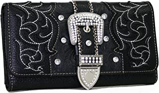 Western Rhinestone Bling Belt Buckle Wallet