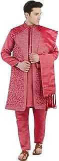 SKAVIJ Men's Dress Sherwani Embroidered Kurta Pajama, Jacket and Stole Set