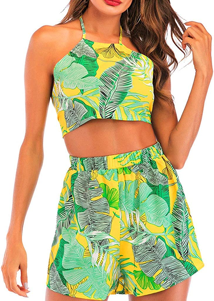 Amazon.com: Women Teen Girls Shorts Sets Casual Summer Tropical Leaf Print  Crop Tank Tops Wide Leg Short Pants 2 Piece Outfits: Clothing
