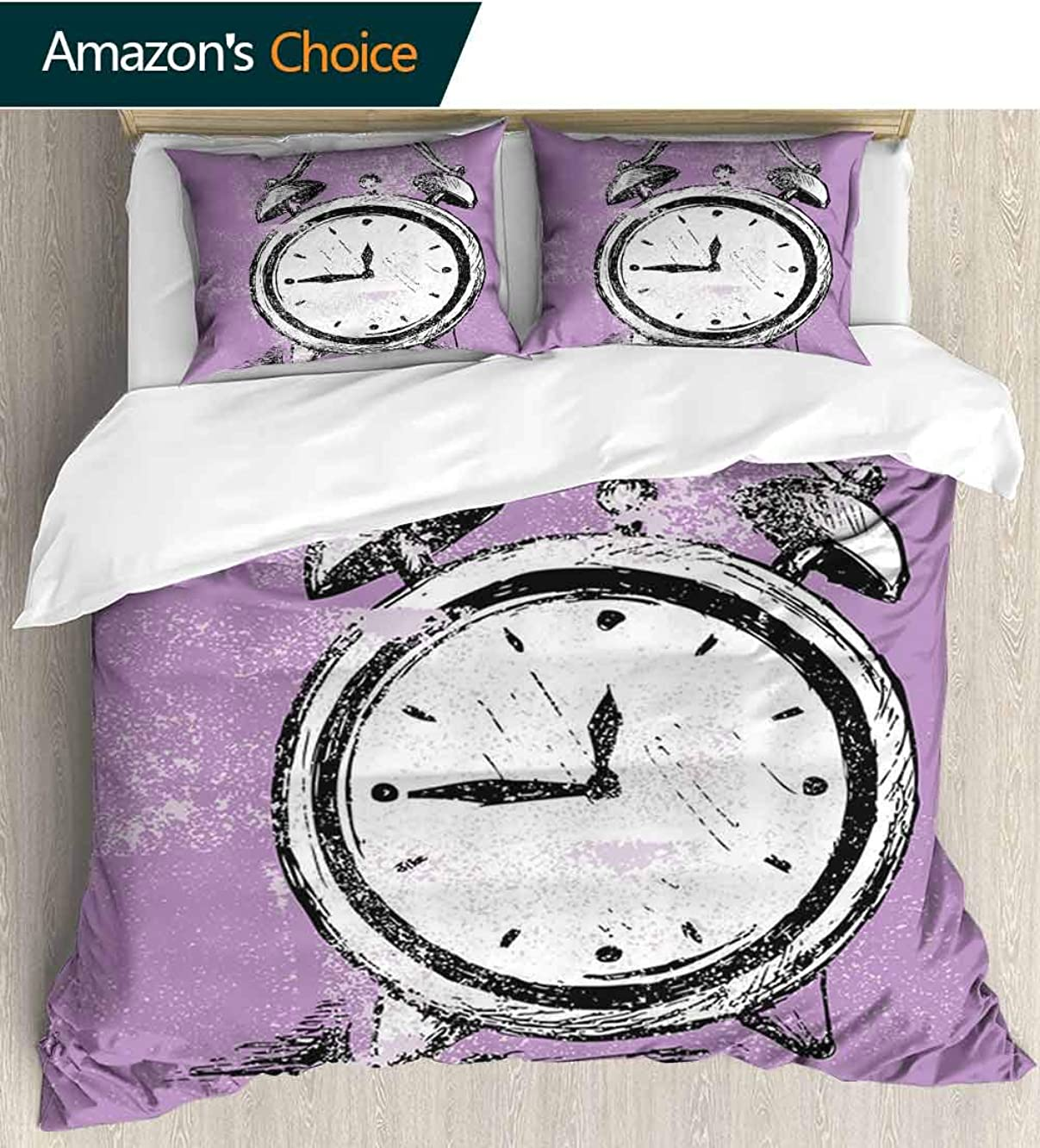 Doodle Full Queen Duvet Cover Sets,Retro Alarm Clock Figure with Grunge Effects Classic Vintage Sleep Graphic Duvet Cover with Pillowcases Child Bedding Sets, 79