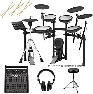 Roland TD-17KVX V-Drums Electronic Drum Set - With Roland PM-100 80W Personal Drum Monitor, 3x Drum Sticks, Pair - Double-Braced Drum Throne - H&A Studio Monitor Headphones