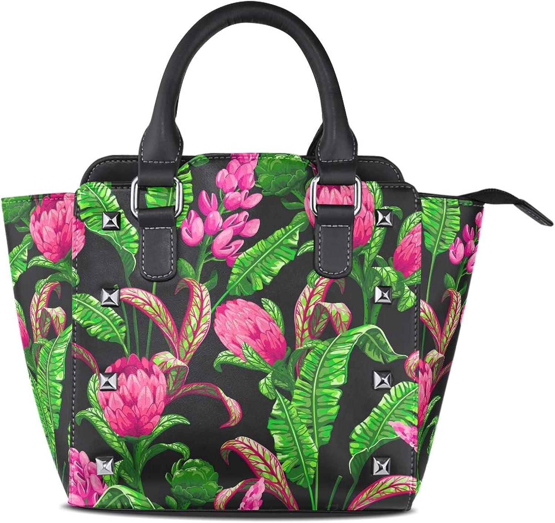 My Little Nest Women's Top Handle Satchel Handbag Tropical Flowers Leaves Ladies PU Leather Shoulder Bag Crossbody Bag