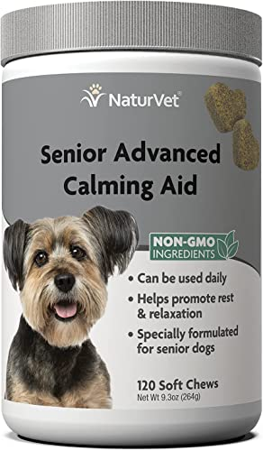 wholesale NaturVet Senior Advanced Calming Aid Dog Supplement – discount Helps Reduce Stress in Senior 2021 Dogs – For Pet Storm Anxiety, Motion Sickness, Grooming, Separation, Travel – 120-Ct. Soft Chews outlet online sale