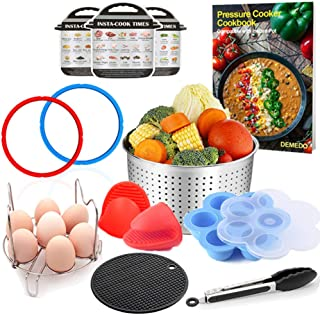 Accessories for 3 Quart Instant Pot with Recipe Cookbook for Electric Pressure Cooker – Steamer Basket, Sealing Ring, Magnetic Cheat Sheet, Egg Bites Mold, Steam Rack, Food Tongs, Silicone Mat, Mitts