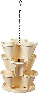 Malhotra Plastic Plastic Stack-A-Pot Hanging Set (Cream, 5-Pieces)