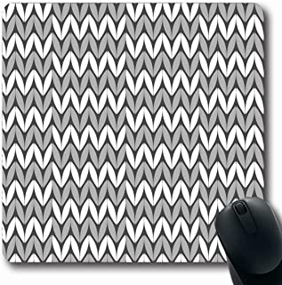 Ahawoso Mousepads for Computers Crochet Gray Canvas Pattern Grey Abstract Carpet Classic Detail Endless Fiber Design Oblong Shape 7.9 x 9.5 Inches Non-Slip Oblong Gaming Mouse Pad