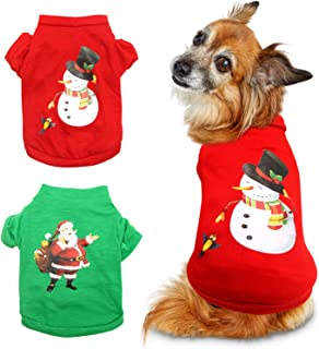 HYLYUN 2 Pieces Dog Christmas Clothes - Small Dog Christmas Shirt Puppy Pet Santa & Snowman Costume for Small Dogs and Cat...