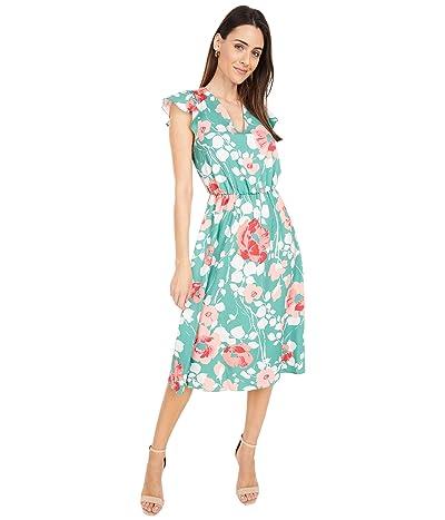 Adrianna Papell Printed Stretch Twill Bias Midi Dress Women