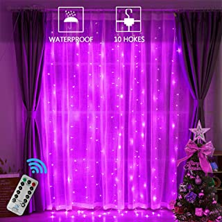 Oycbuzo 300 LEDs Curtain String Lights,9.8ftx9.8ft USB Powered Copper Wire Fairy Window Lights, Remote Timer Control 8 Modes Twinkle Lights for Kids Bedroom Wedding Wall Decorations -Pink