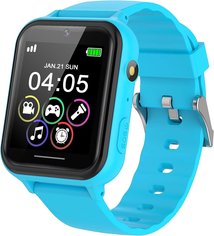 PTHTECHUS Reloj Inteligente para Niños, Reloj Teléfono para Niña y Niño Pantalla Táctil con Música, 7 Juegos, Cámara, Linterna, Alarma, Smartwatch para Niños Regalo, Azul