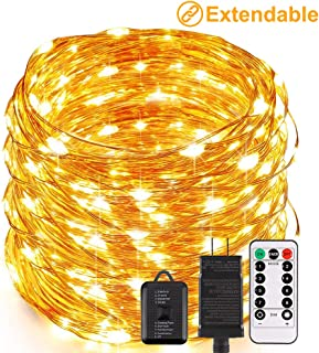 ECOWHO LED Fairy Lights, Connectable and Flexible 66FT 200 LED String Lights Plug in Waterproof Outdoor Copper Wire Starry Firefly String Lights for Christmas Bedroom DIY Party Wedding Patio