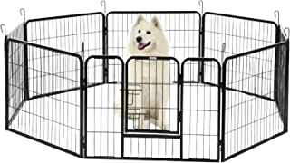 SUNCOO Metal Dog Exercise Pen Outdoor& Indoor Pet Playpen Foldable Puppy Cat Rabbit Fence Barrier Heavy Duty Portable Dogs Play Yard Kennel 24 inch Height 8 Panels
