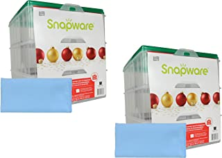 Snapware (2) Snap 'N Stack 3-Layer Ornament Keepers w/ (2) Blue Microfiber Low-lint Polishing Cloth