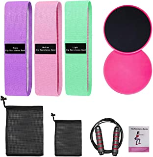9 Pieces Fabric Resistance Loop Exercise Bands Set, 3...