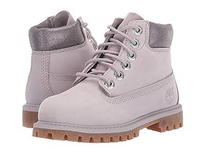 Timberland Kids 6 Premium Waterproof Boot (Toddler/Little Kid) (Light Grey Nubuck) Girls Shoes
