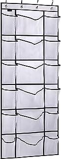 MISSLO Over The Door Shoe Organizer with 6 Extra Large Mesh Storage Pockets Hanging Shoe Holder Hanger, White