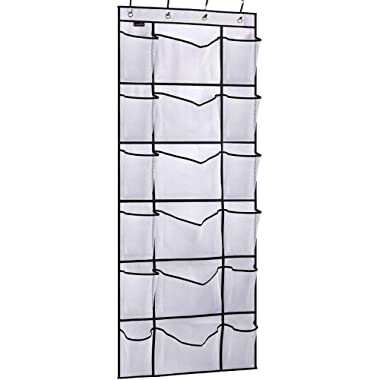 MISSLO Over the Door Shoe Organizer with 6 Extra Large Mesh Storage Pockets Hanging Shoe Holder Hanger, White