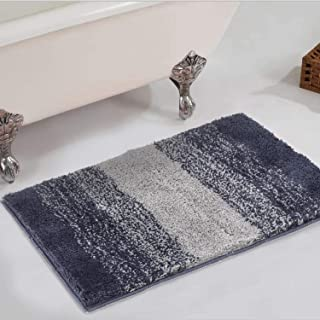 Bathroom Rug,HAOCOO Ombre Gray Bath Mat Non-Slip Shaggy Door Carpet Soft Luxury Microfiber Machine-Washable Bath Floor Rug for Doormats Tub Shower (18x26 inch)