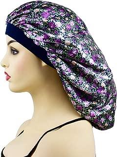 Extral Large Satin Sleep Bonnet Cap for Women & Girls, Elastic Wide Band Satin Bonnet Sleeping Night Cap & Hat for Natural Hair, Long Braids