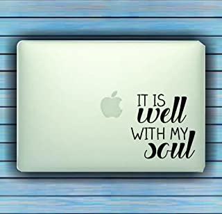 Dabbledown Decals It Is Well With My Soul Design Small Laptop Version Car Window Windshield Banner Lettering Decal Sticker Decals Stickers Girl JDM Drift