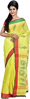 SareesofBengal Women's Handloom Pure Bengal Linen Jamdani Saree with Blouse Piece
